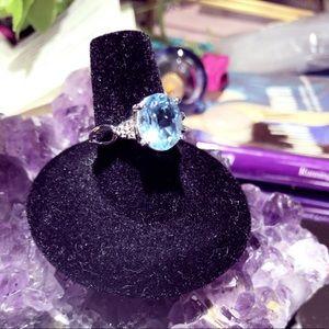3.37ct. Genuine Blue Topaz & Diamond Accent Ring